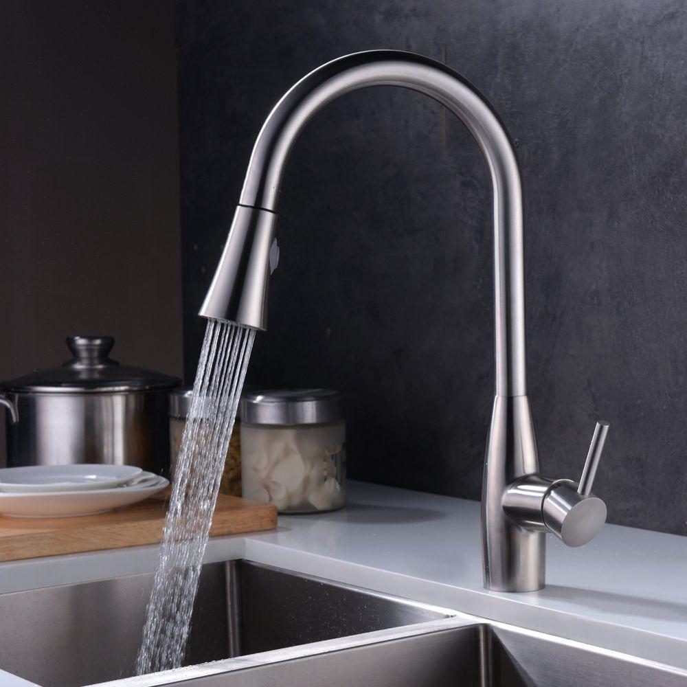 Küchenarmatur Edelstahl Wasserhahn Einhebel Ausziehbar Wasserfall ...