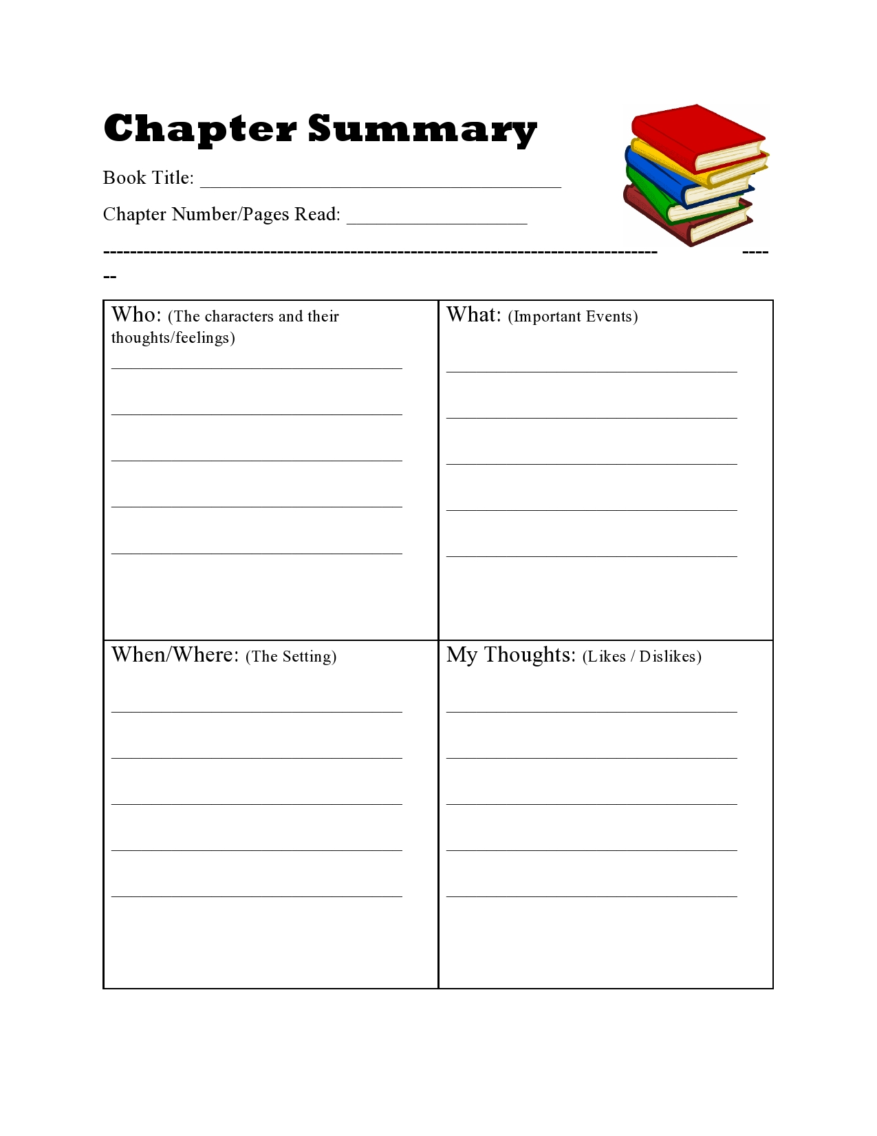 Homeschool Printables Chapter Summary in 2020 Chapter