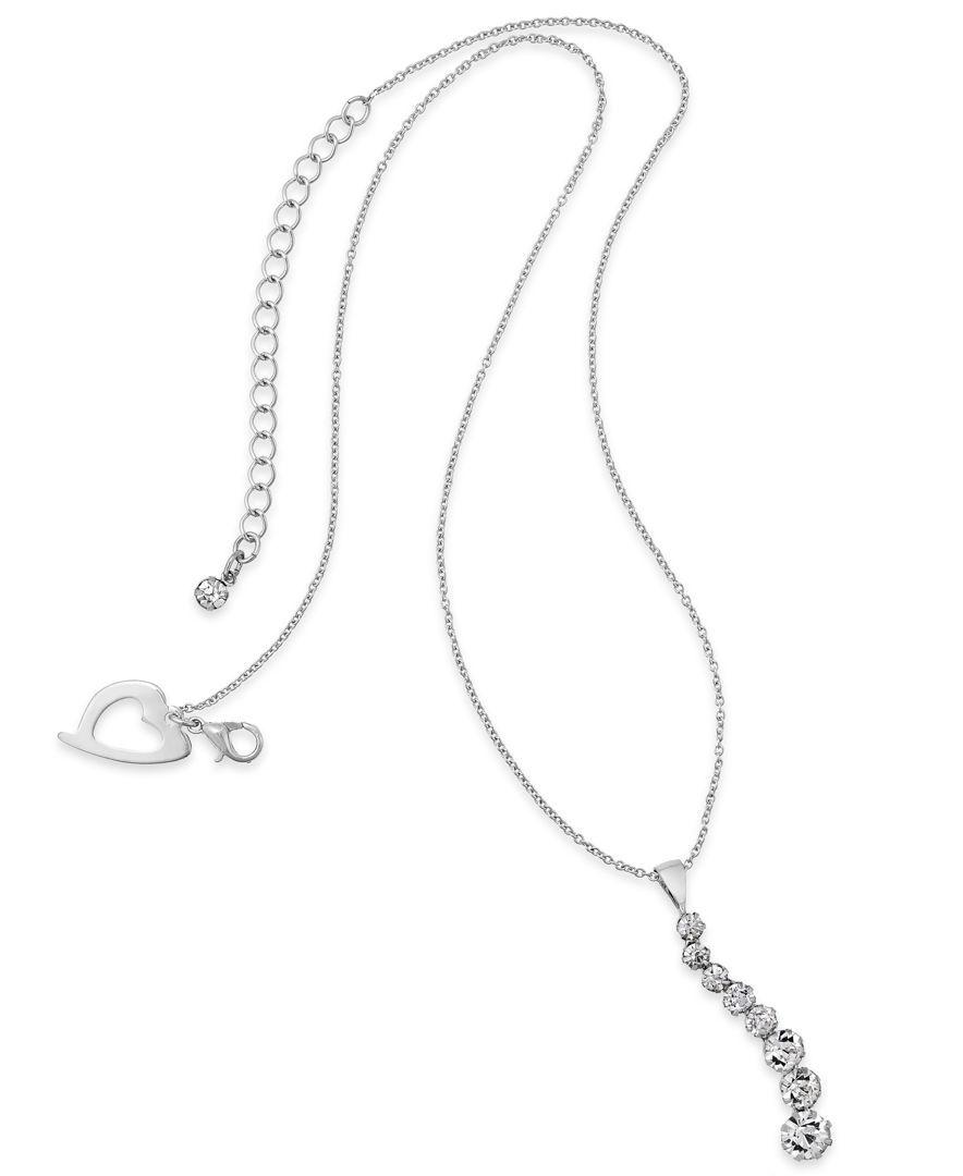 Thalia Sodi Silver-Tone Cubic Zirconia Linear Drop Pendant Necklace