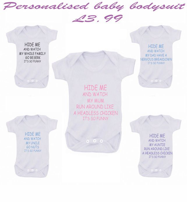 BODYSUIT HIDE ME  ANY FAMILY MEMBER GO BERSERK £3.99
