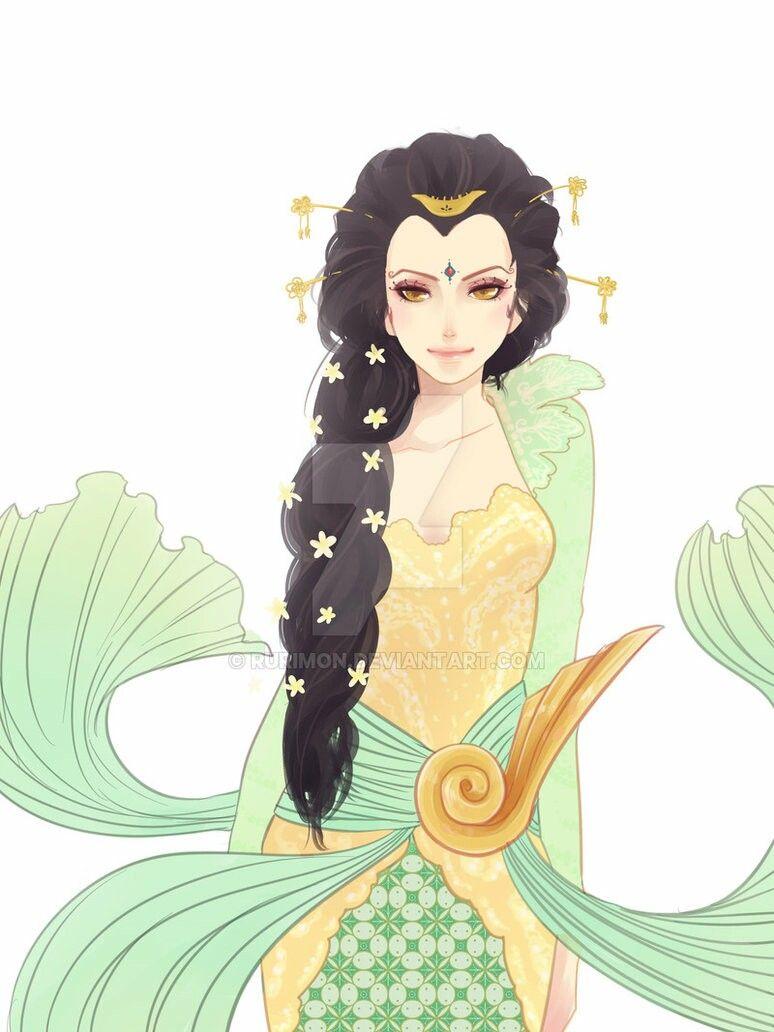 Kebaya Umbrella Girl Batik Beautiful Batik Kebaya Animasi