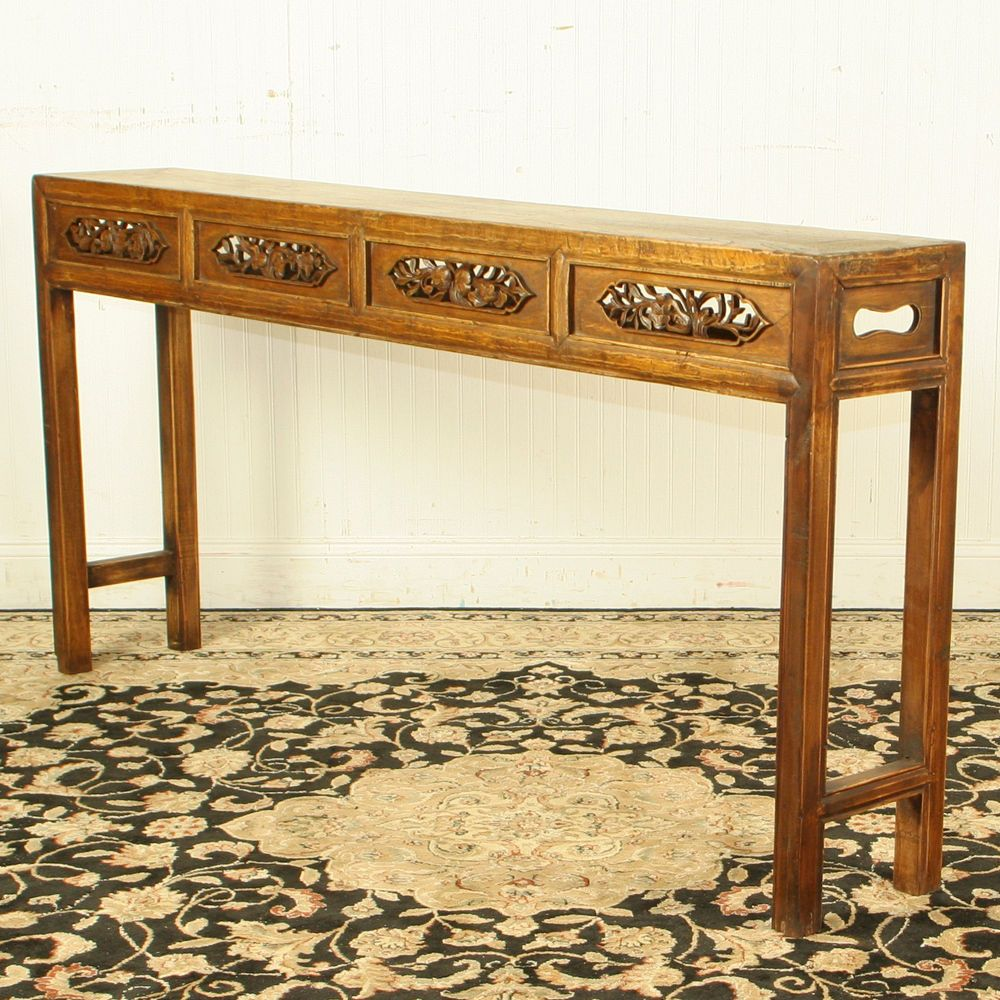 Antique Chinese Asian 64 In Long 10 Deep Carved Front Console Sofa Hall Table Ebay