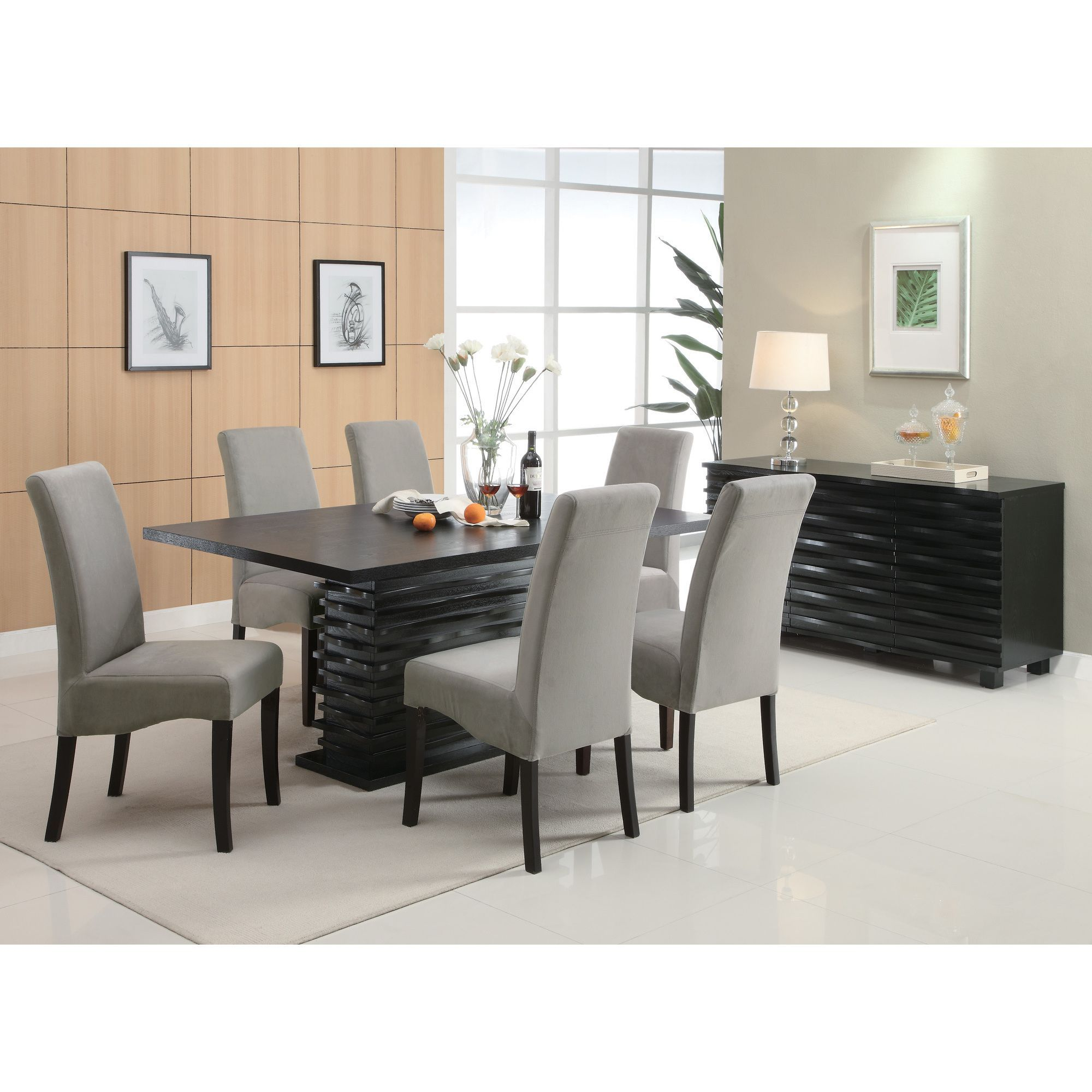 Coaster Company Contemporary 6 Seater Black Wooden Dining Table