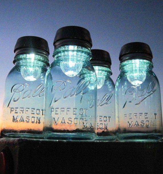 Mason Jars Solar Lights 4 Outdoor Mason Jar Lighting Antique Blue Ball Jars Garden Outdoor Lights ORIGINAL Solar Jar Design by treasureagain