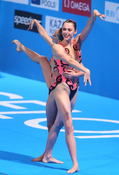 Kristina Krajcovicova and Jana Labathova of Slovakia compete in the Synchronized Swimming Duet preliminary round on day four of the 15th FINA World Championships at Palau Sant Jordi on July 23, 2013 in Barcelona, Spain.