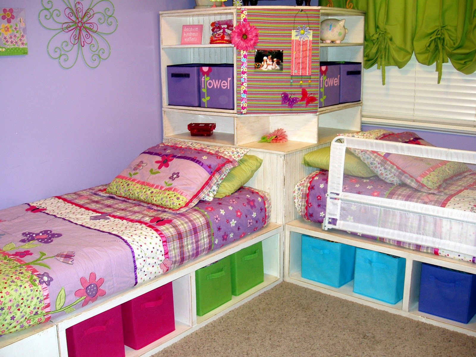 Powell White Twin Bedroom In A Box: Cute White Built In Beds Custom Design With Shelving For