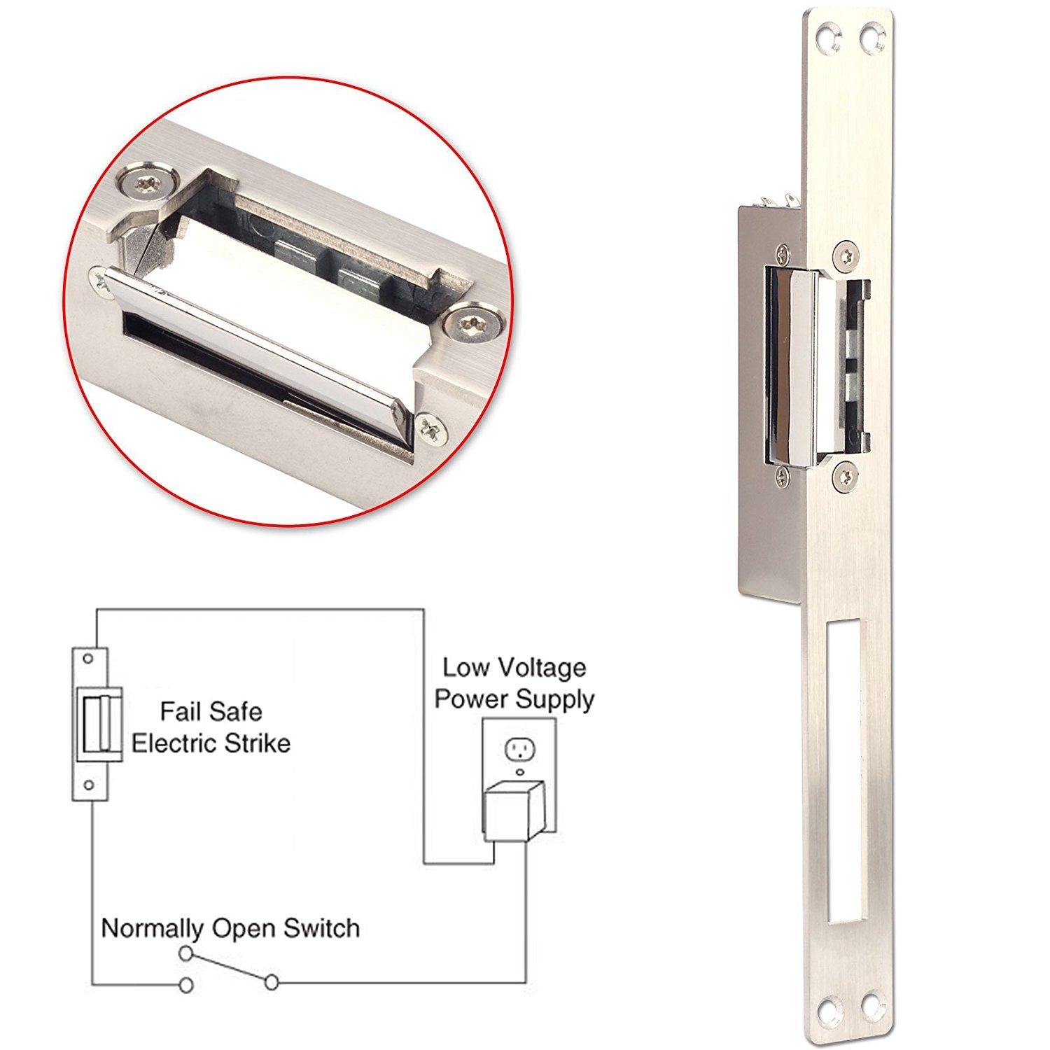 Us 25 37 Feb Only Metal Electric Strike Narrow Type 12v Dc Fail Secure Nc Electric Door Lock For Wooden And Security Gadgets Metal Door Access Control System