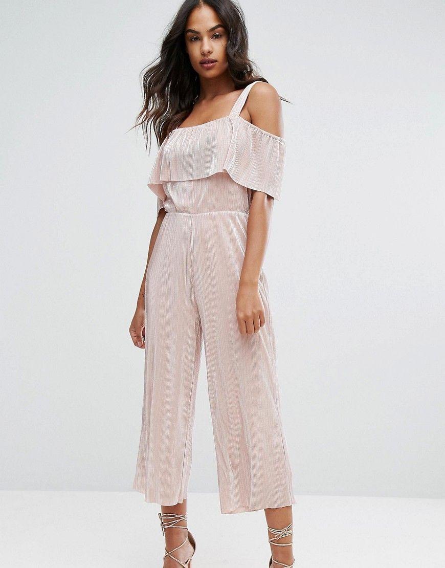 aebb685ab98 Warehouse Foil Plisse Frill Jumpsuit - Pink