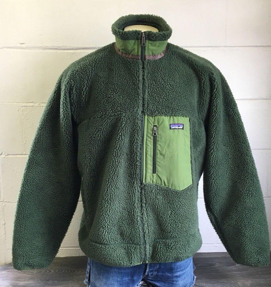 55ea7afb8 Vintage Patagonia Fleece Deep Pile Retro-X Jacket Sherpa Kermit ...