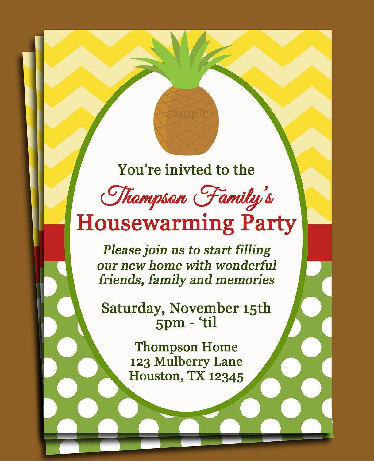 Pineapple Invitation Printable or Printed with FREE SHIPPING - New ...
