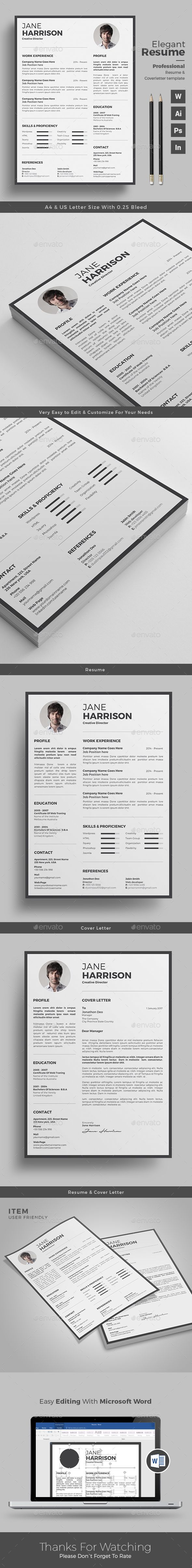 Clean Resume/CV Word template, Resume template