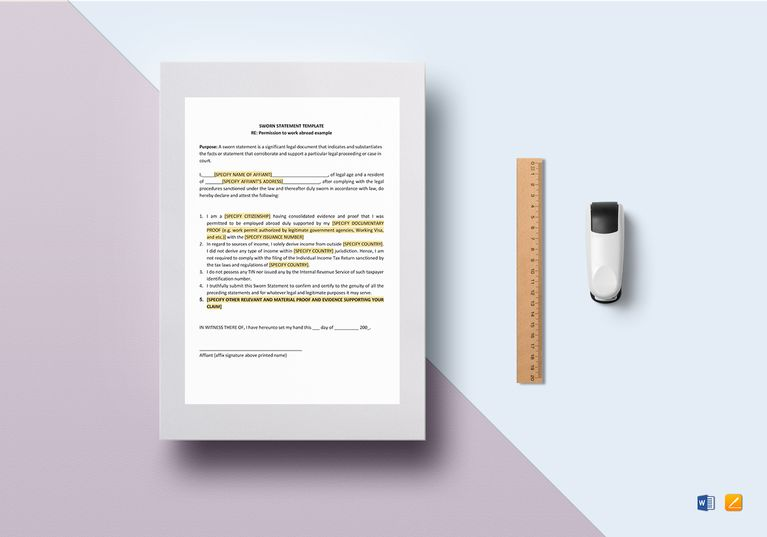Sworn Statement Template  Formats Included  Ms Word Pages