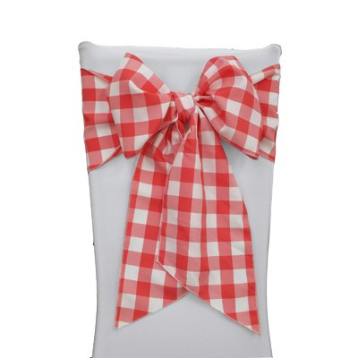 August Grove Huertas Checkered Chair Bow Color White Coral Tablecloth Fabric Chair Bows