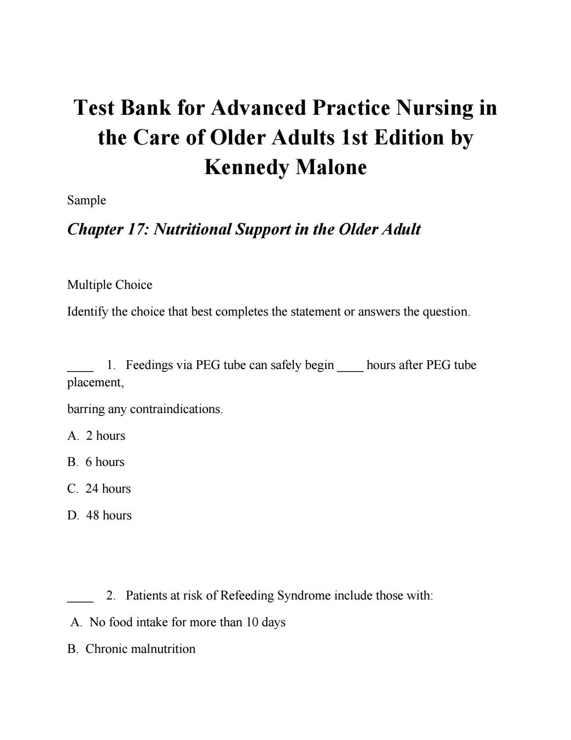 Test bank for advanced practice nursing in the care of older adults 1st  edition by malone