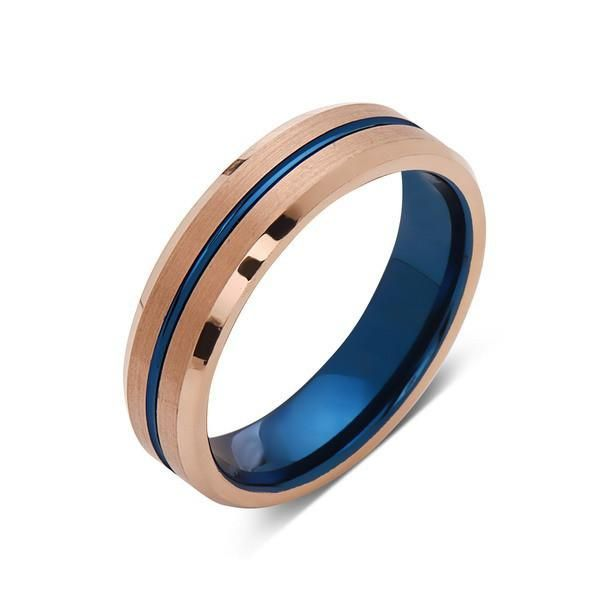 Blue Tungsten Wedding Band Rose Gold Ring 6mm Matching Bands Carbide Engagement Comfort Fit
