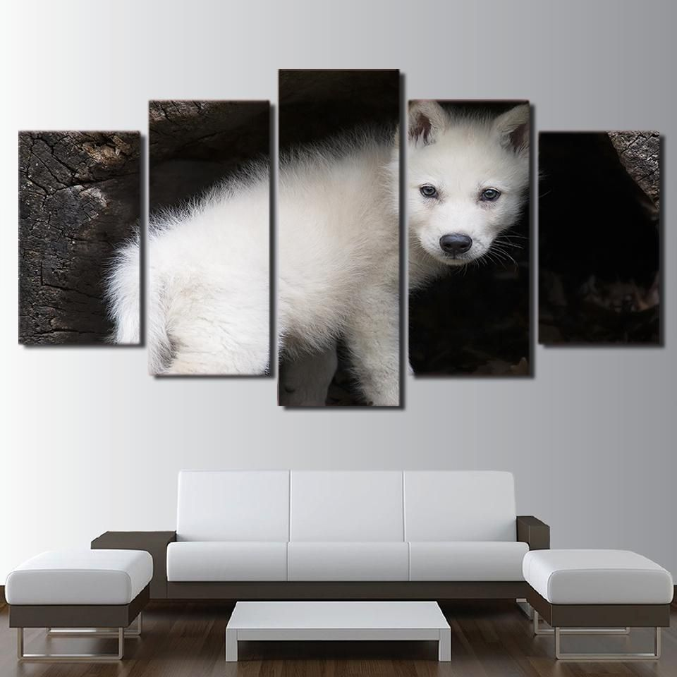HD printed 5 Piece Canvas Art Wild White Wolf Cubs Painting Wall ...