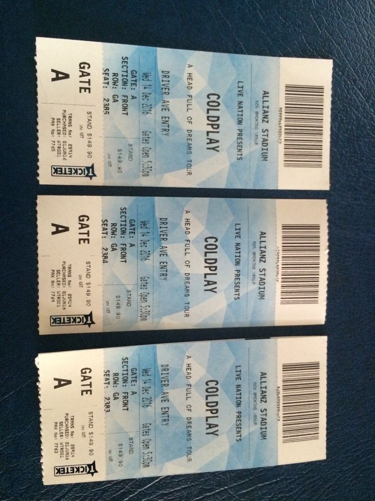 Coldplay Tickets Ebay