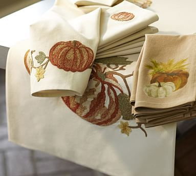Pumpkin Embroidered Table Runner, 18 x 108\