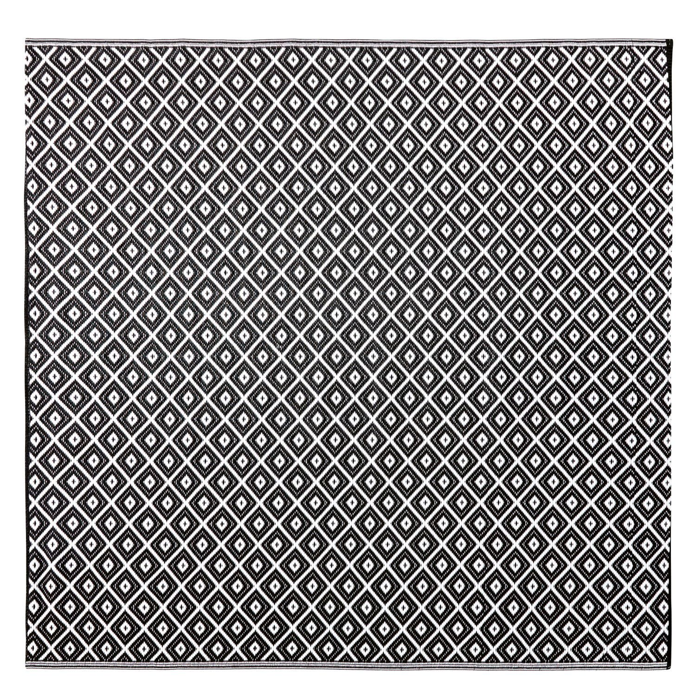 Tappeto da esterno con motivi grafici neri e bianchi