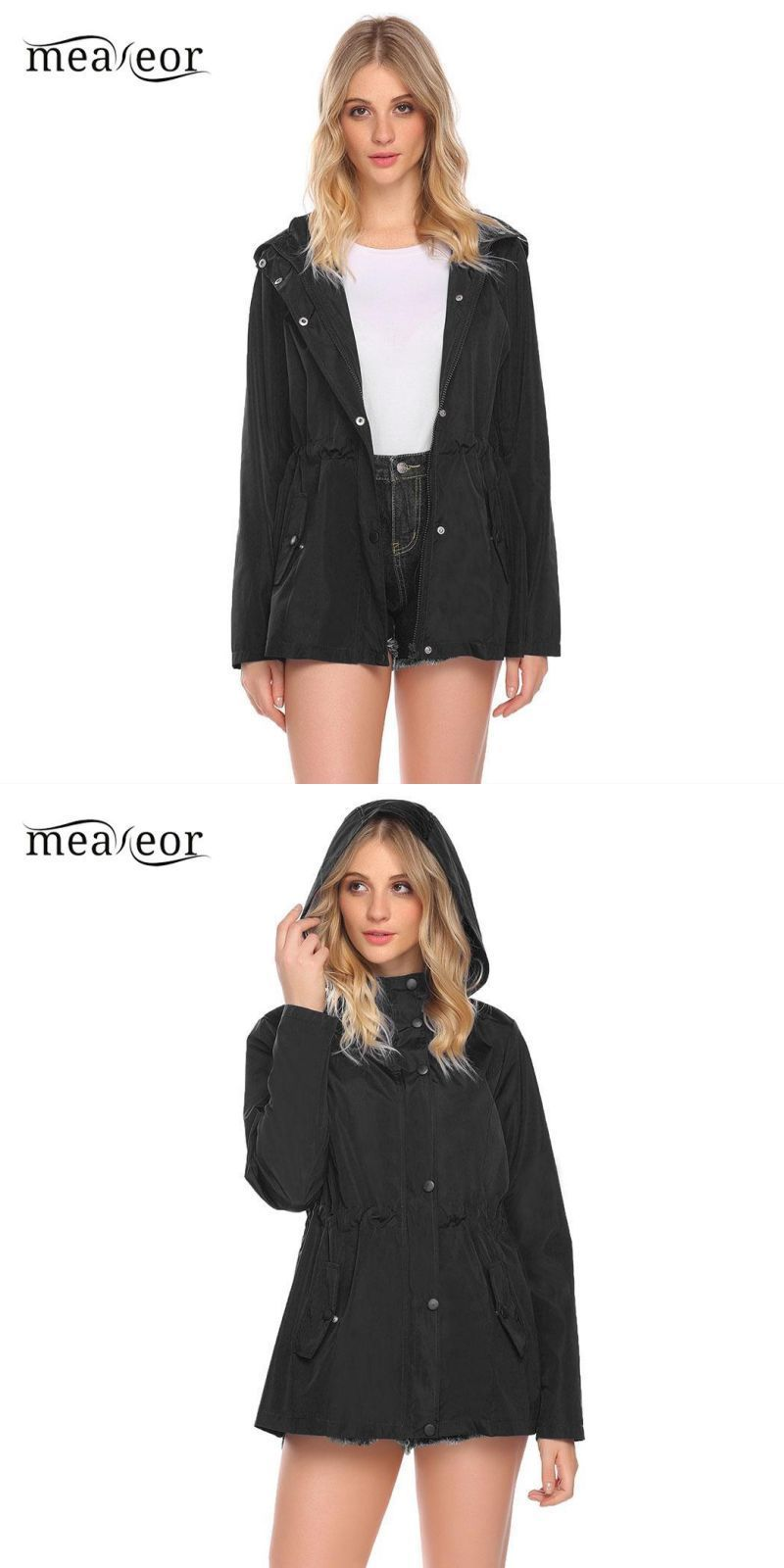 c1a21b15 Fashion hooded casual women coat ladies spring jacket long sleeve ...