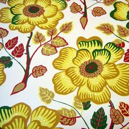 Krysantemer, Yellow - Wallpaper - Josef Frank