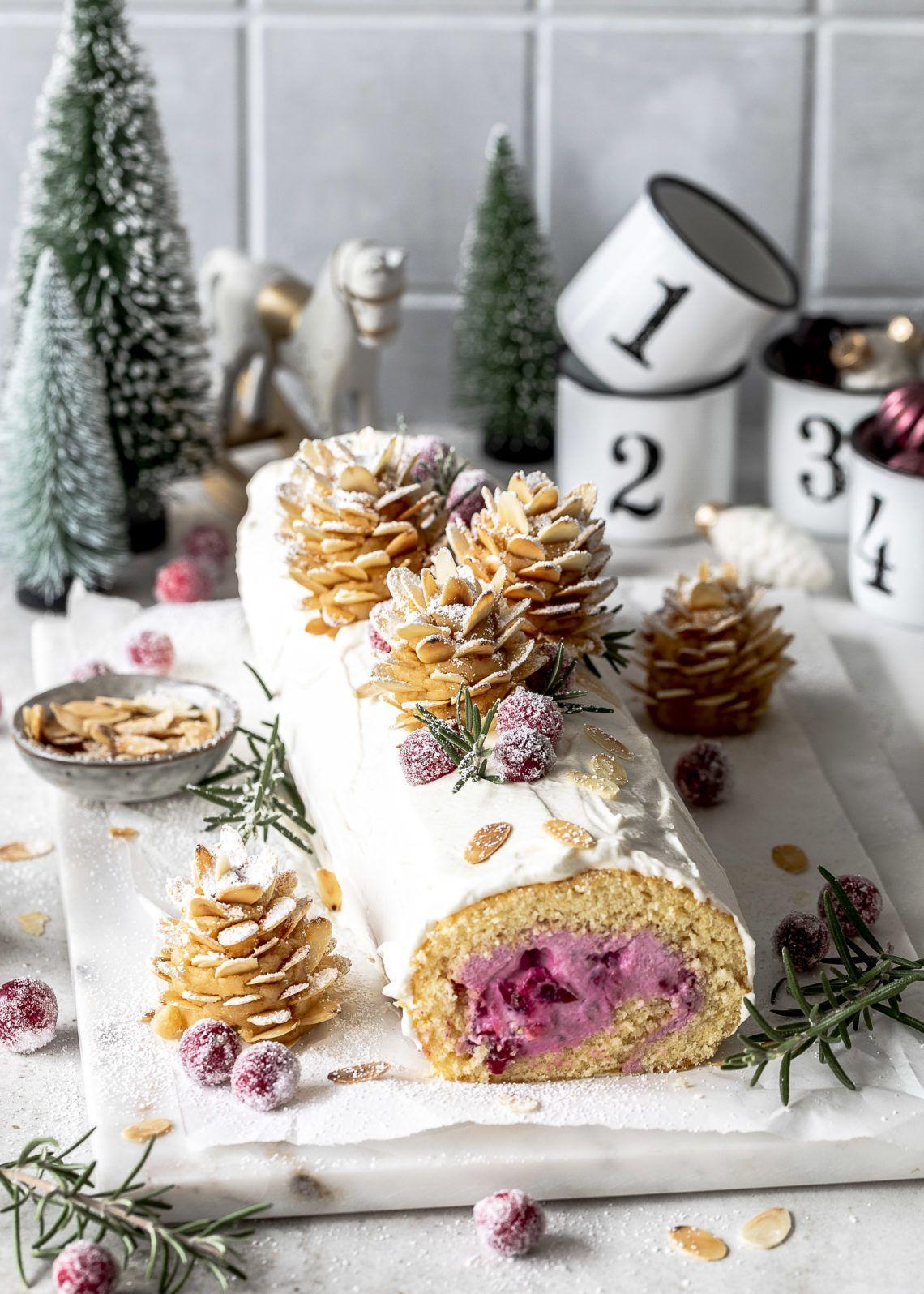 Mandel Cranberry Biskuitrolle mit Tannenzapfen-DIY | Emma's Lieblingsstücke