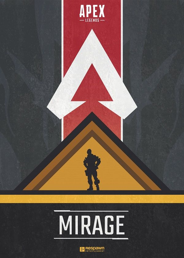 "Apex Legends Character Silhouettes Mirage #Displate explore Pinterest""> #Displate artwork by artist ""Jude Beavis"".… 
