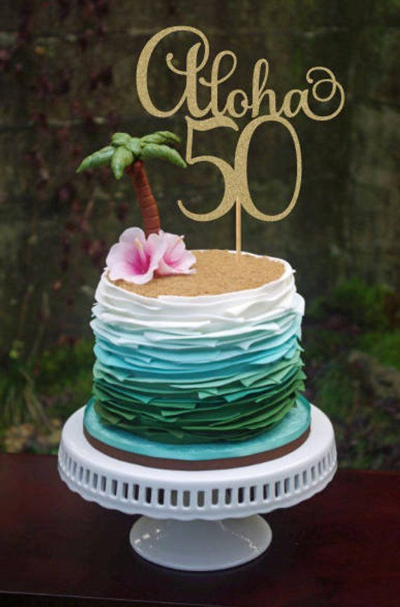 Awesome Aloha 50 Cake Topper 50Th Birthday Decorations 50Th Cake Topper Funny Birthday Cards Online Drosicarndamsfinfo