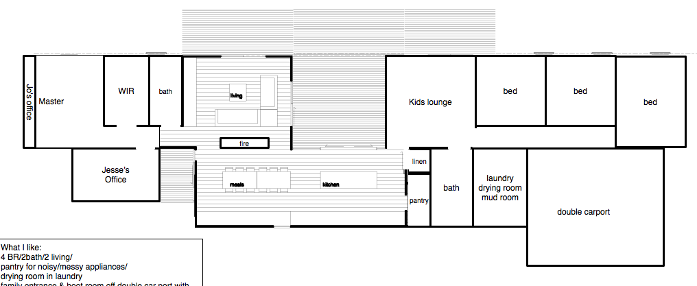 Jo's idea for the back of the block, modified from a prebuilt.com.au plan (mod #7)  I imagine the kitchen and dining room would benefit from 3m base walls and a raked ceiling to give good clearance above the front section of the house. If we put that office on there for Jesse that should probably be the same to get him some light and because he feels better with tall spaces. I guess really just the whole back section, even the carport could have the same roof line?