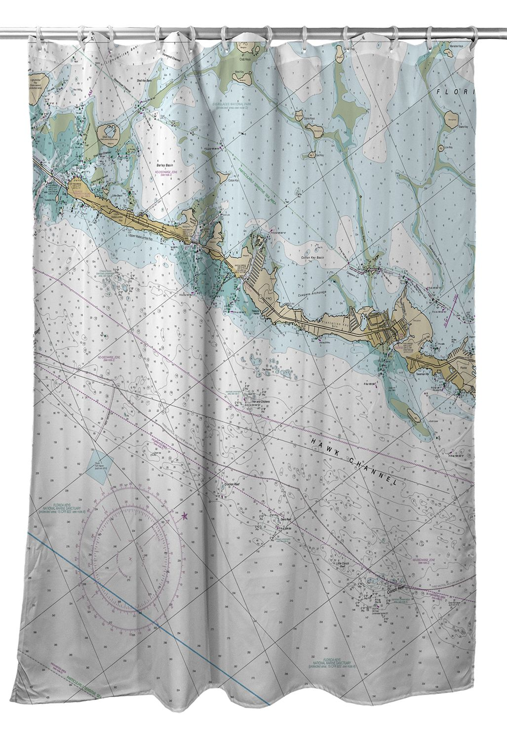 Fl Islamorada Fl Close Up Nautical Chart Shower Curtain