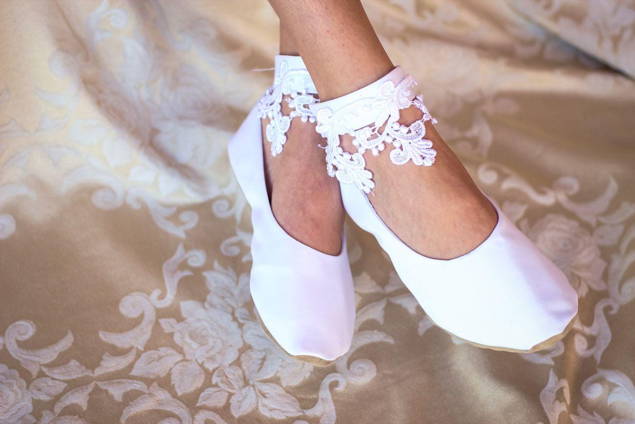 Lace Bridal Flat Shoe Available at  Hopefully Romantic on Etsy