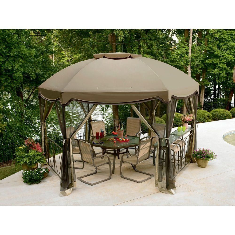 Garden Oasis Grandview Hexagon Gazebo With Netting Tan 14 Ft X 12 Ft Patio Gazebo Gazebo Canopy Gazebo