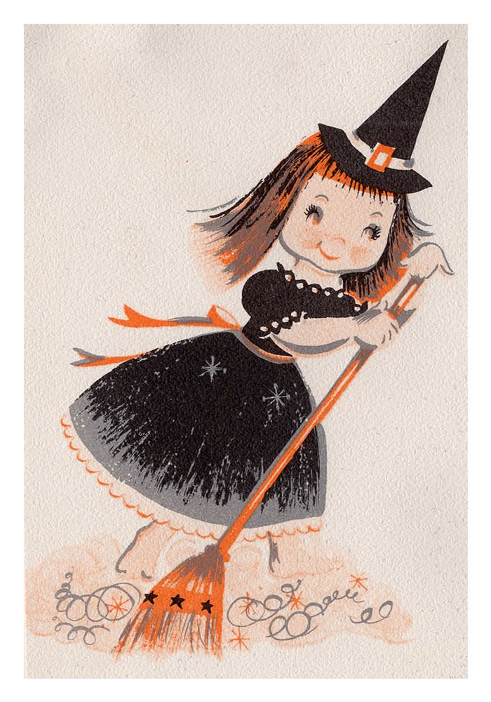 Vintage Reproduction Halloween Greeting Card Little Witch Cute