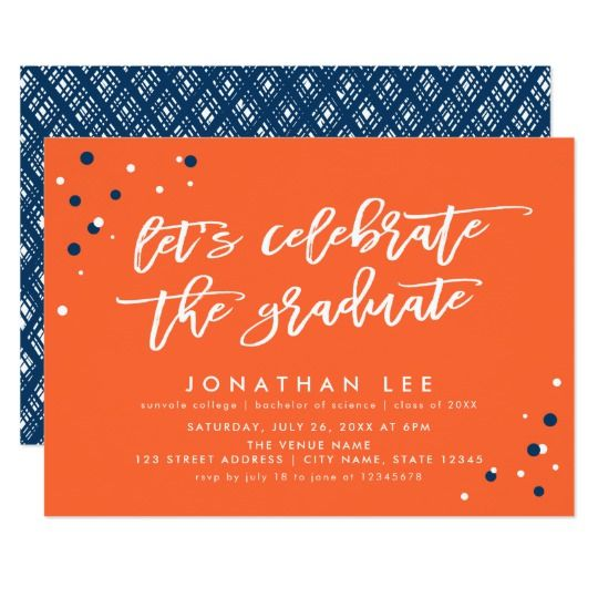 Orange lets celebrate the graduate grad party invitation orange lets celebrate the graduate grad party invitation by rosewood and citrus on zazzle filmwisefo