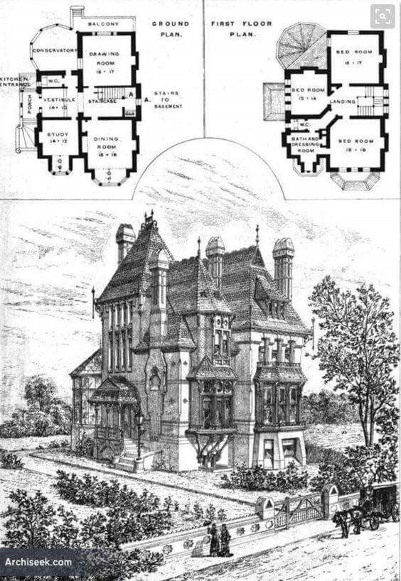 A 3 Bedroom House Victorian House Plans Vintage House Plans Gothic House