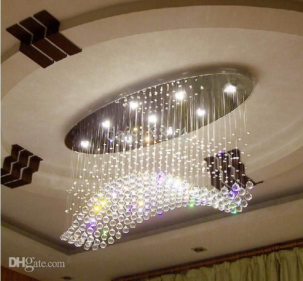 Living Room Lamp Sizes: Oval Curtain Wave Modern Chandeliers Crystal Lamp Living