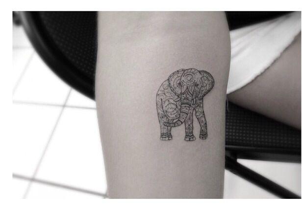 Small tribal elephant tattoo design