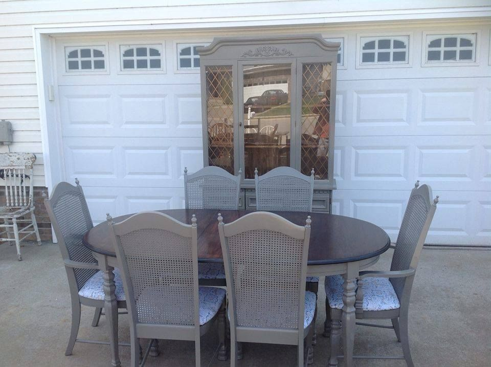 Vintage Kitchen Dining Room Table W 6 Chairs That I Painted A Granite Grey And Refinished The Top In Espresso Stain By Minwax Hutch