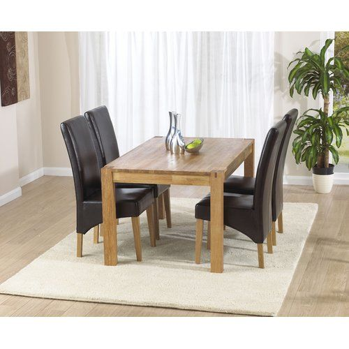 Gracie Oaks Dining Set With 4 Chairs Oak Dining Sets Solid Oak