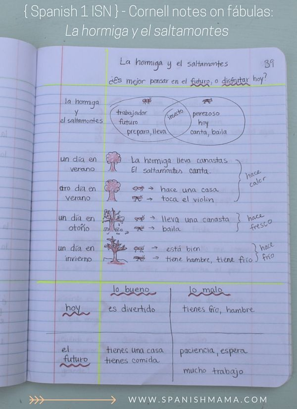Spanish Notebook Section 2 Class Content Spanish Interactive