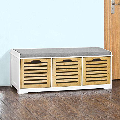 SoBuy® Banco de almacenamiento con acolchados cojines y 3 ...