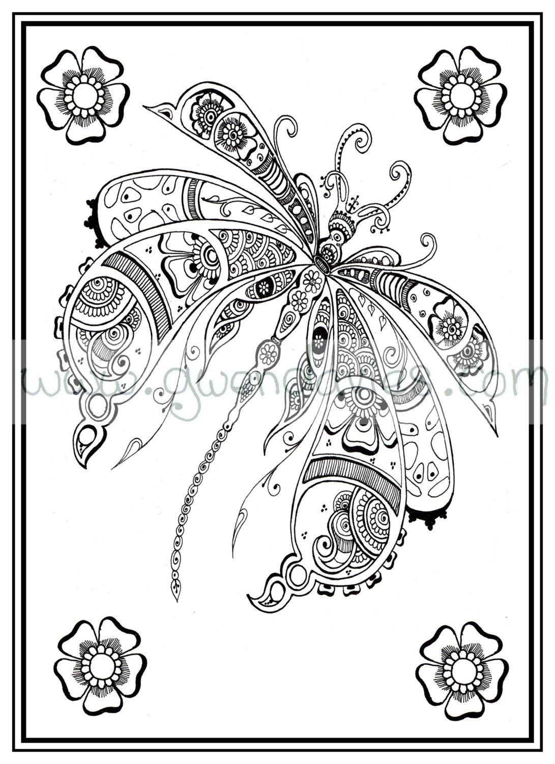 Adult Colouring In PDF Download Dragonfly Henna Zen Mandalas Garden Anti Stress Mindfulness Flowers By Gwendaviesart