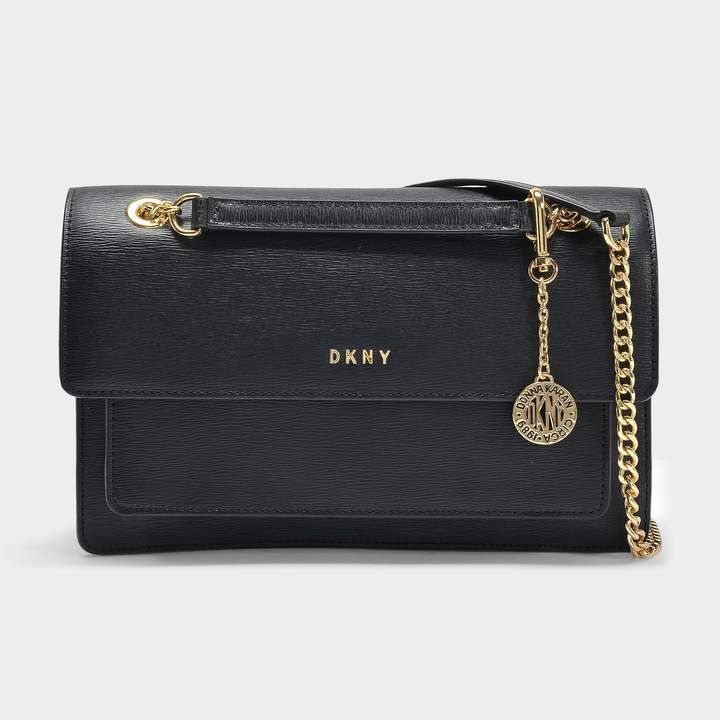 371f07ce09524 DKNY Bryant Large Chain Flap Crossbody Bag in Black Sutton Textured Leather
