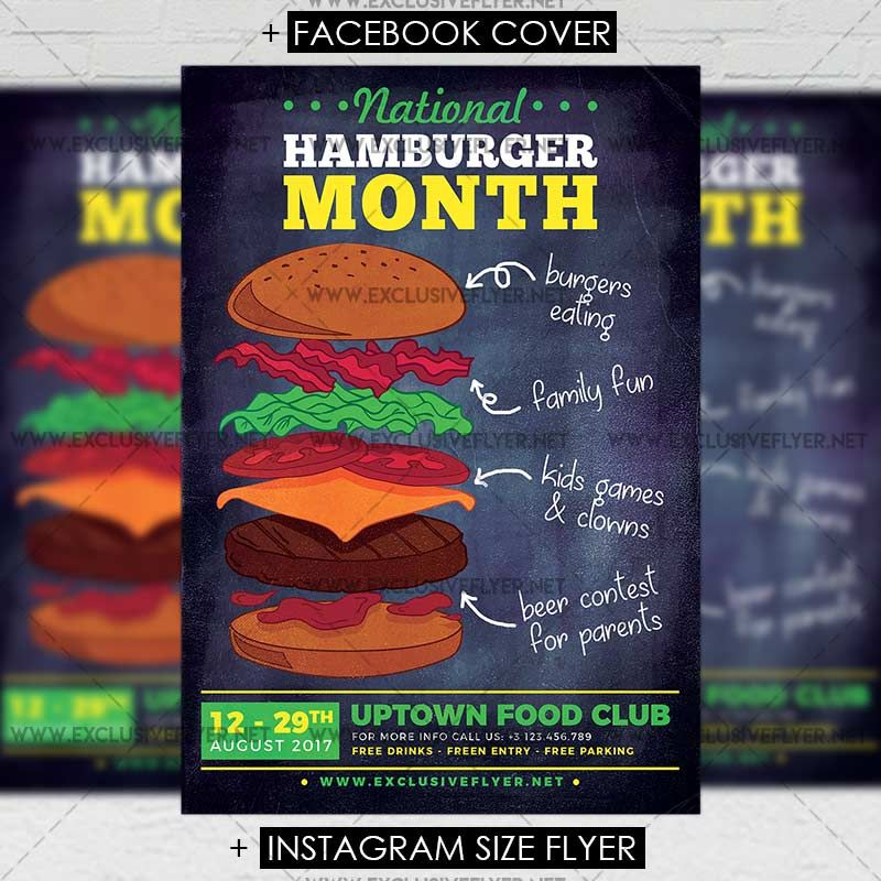 National Hamburger Month - Premium A5 Flyer Template https\/\/www - free product flyer templates