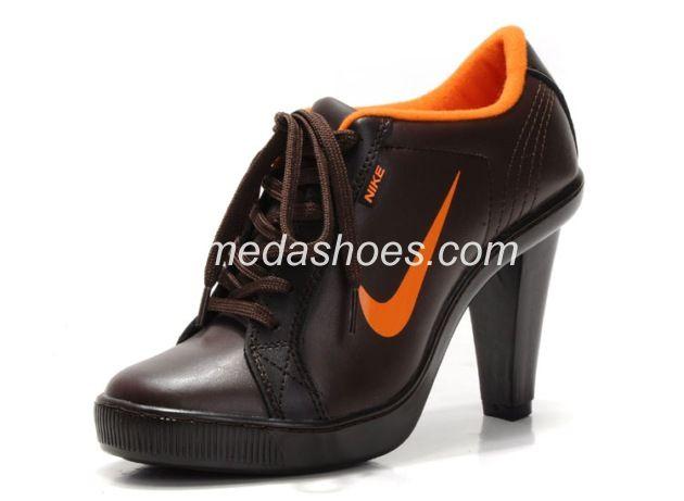 Nike SB Swoosh Low Heels Womens Brown Leather Orange
