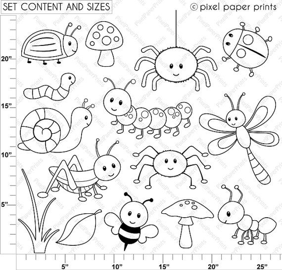 Happy Bugs Digital Stamps by pixelpaperprints on Etsy