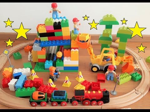 Lego Duplo construction site & Brio train knocks down Lego brick ...