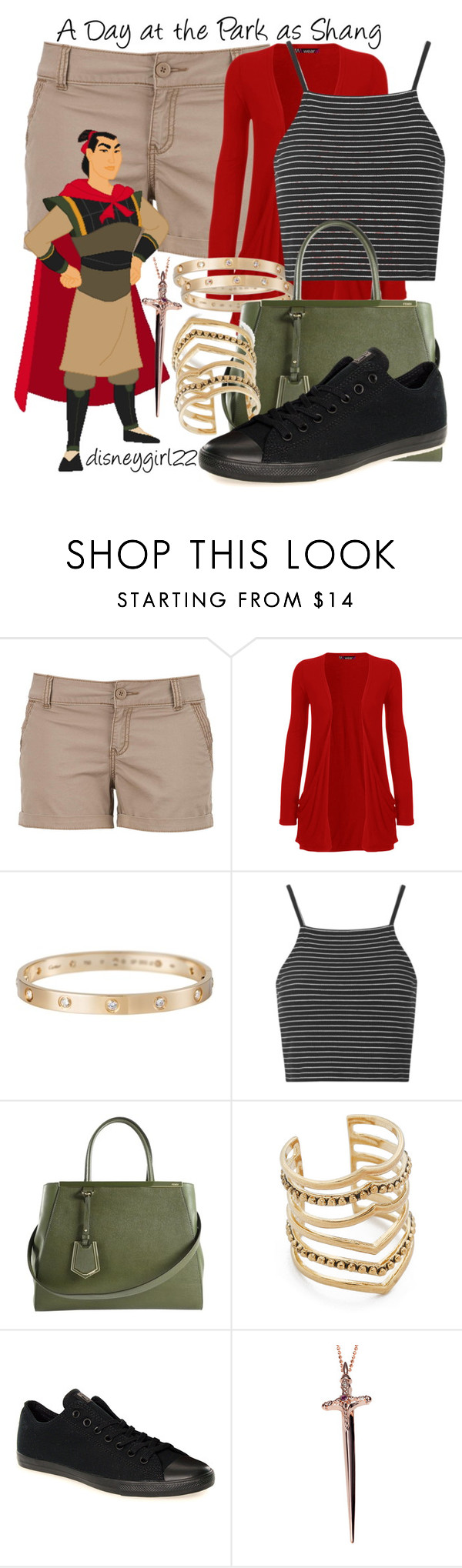 """""""A Day at the Park as Shang"""" by disneygirl22 ❤ liked on Polyvore featuring maurices, Disney, WearAll, Cartier, Topshop, Fendi, SunaharA, Converse, Rachel Roy and disney"""