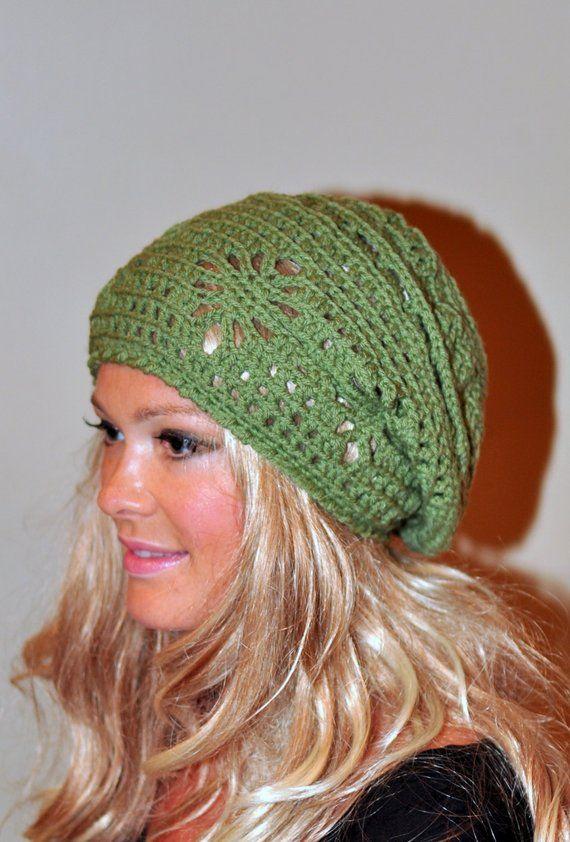 f8b981eeb9e Slouchy Beanie Women Hat Slouchy Hat Summer Hat CHOOSE COLOR Green Forest  Pea Green Crochet Gift
