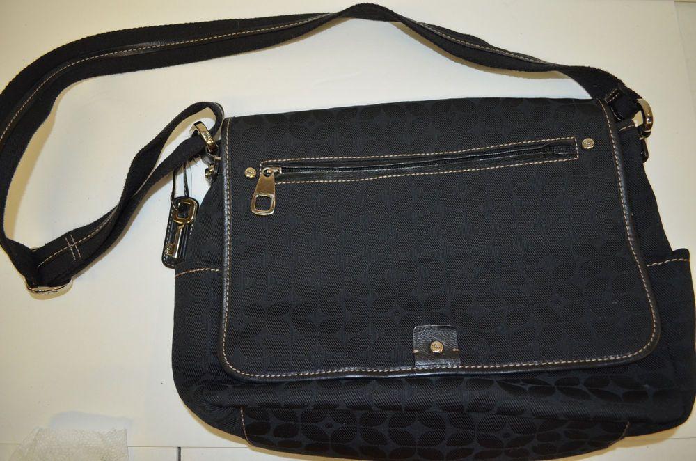 Fossil Crossbody Black Canvas Messenger Bag School Book Laptop  #FOSSIL #MessengerCrossBody